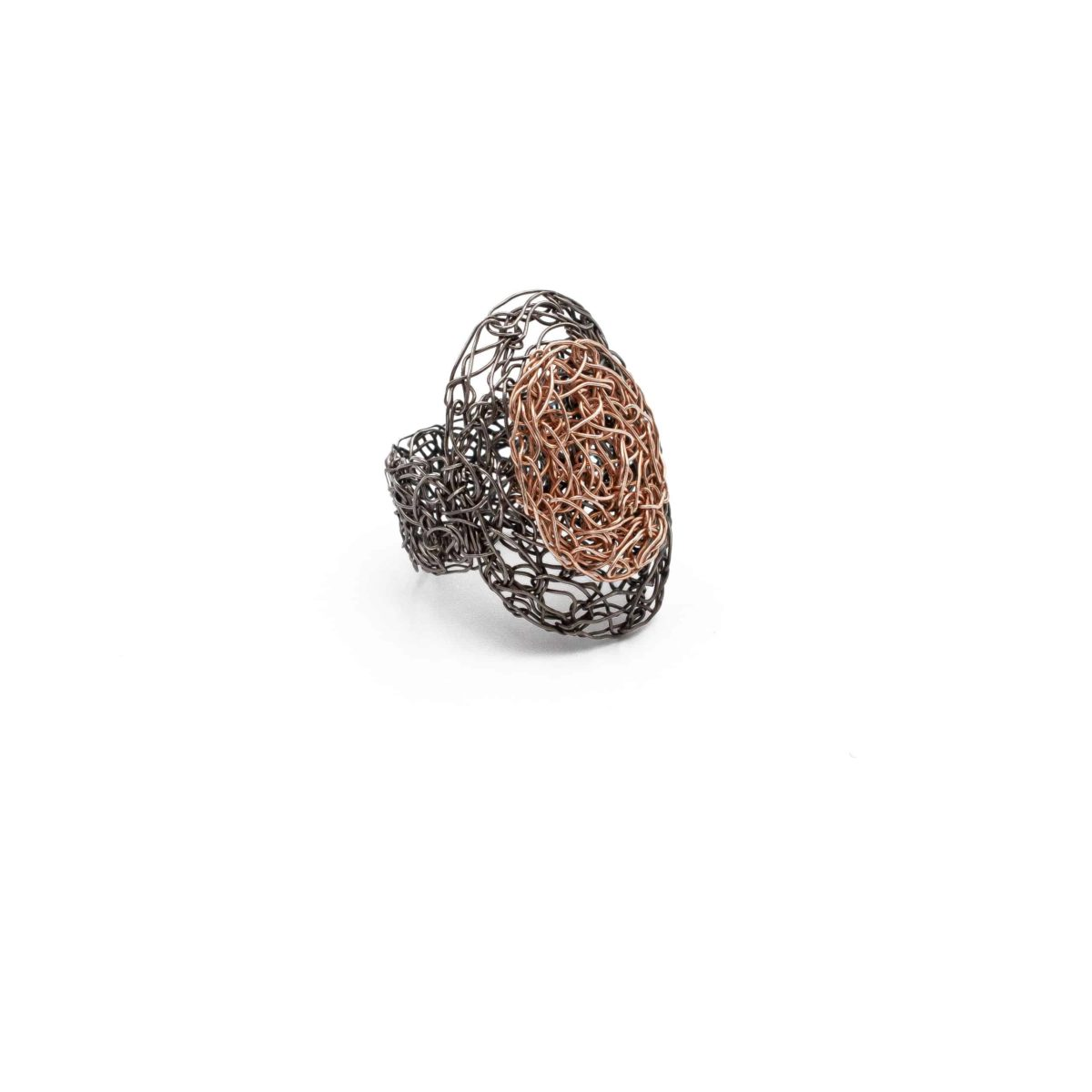 view of adjustable oval ring in rose gold