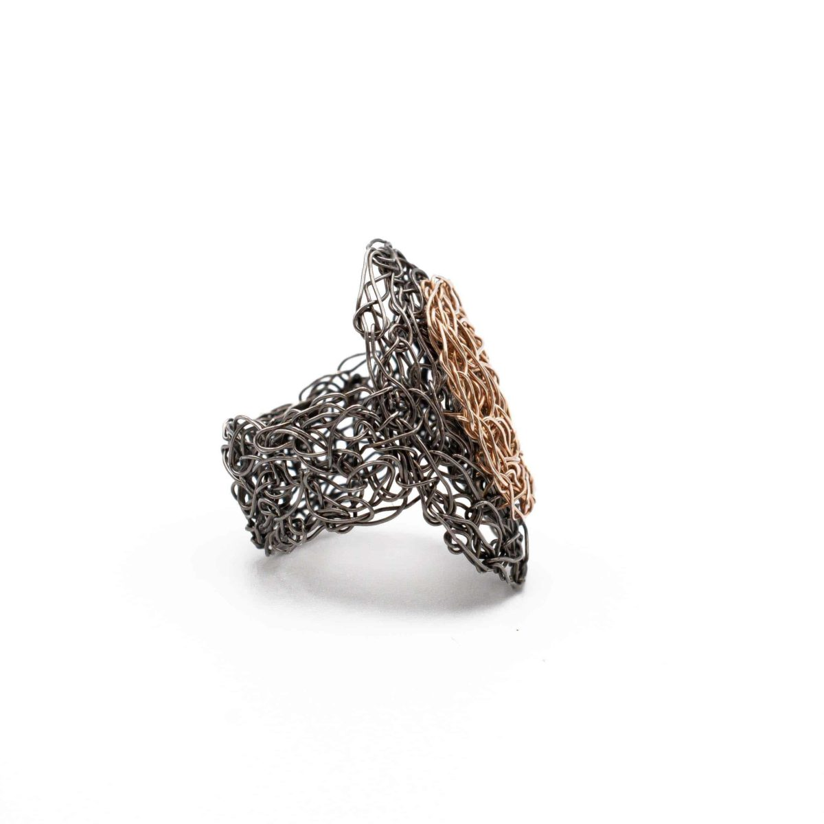 side view of adjustable oval ring in rose gold