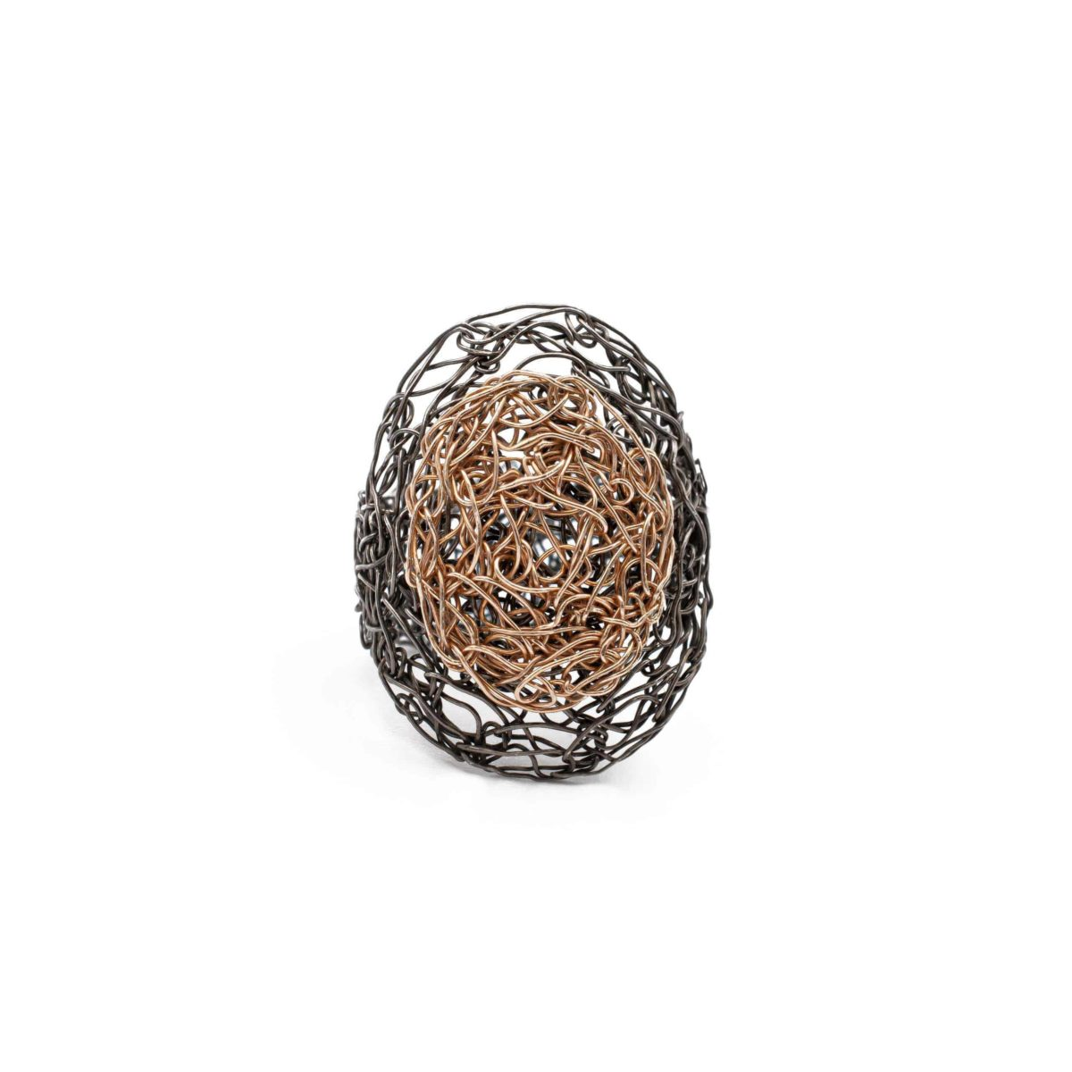 front view of adjustable oval ring in rose gold