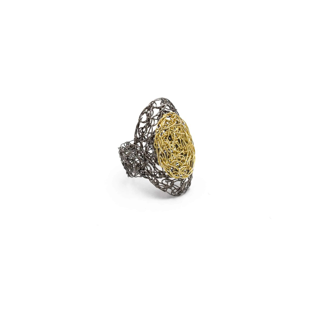 view of adjustable ring in gold