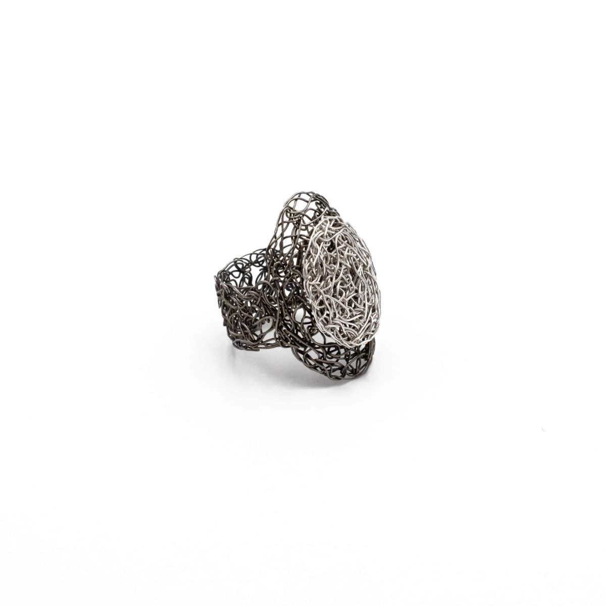 view of adjustable ring in silver