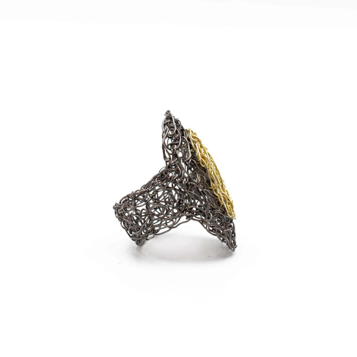 side view of adjustable ring in gold