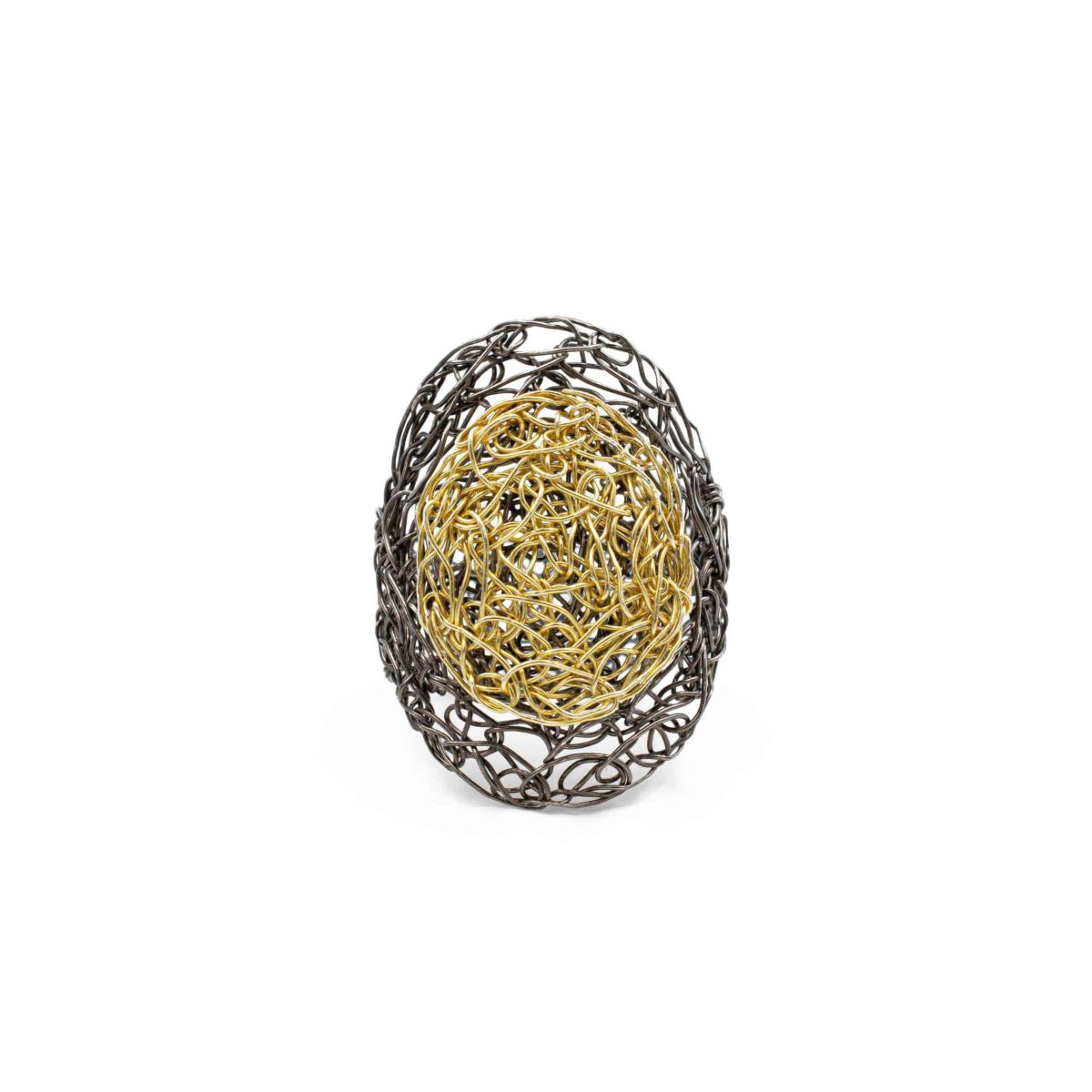 front view of adjustable oval ring in gold
