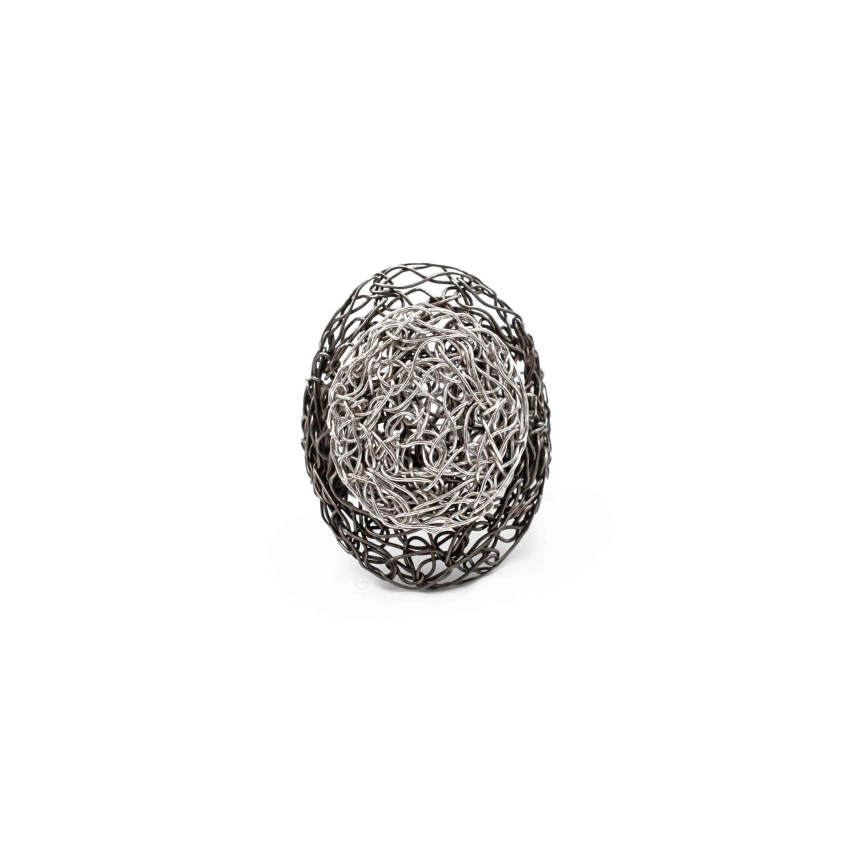 front view of adjustable oval ring in silver