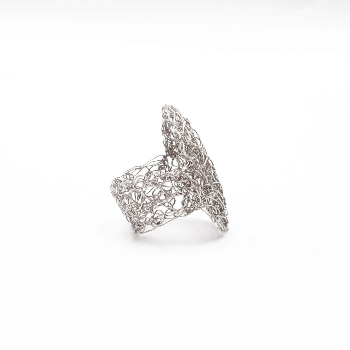 side view of adjustable ring in silver