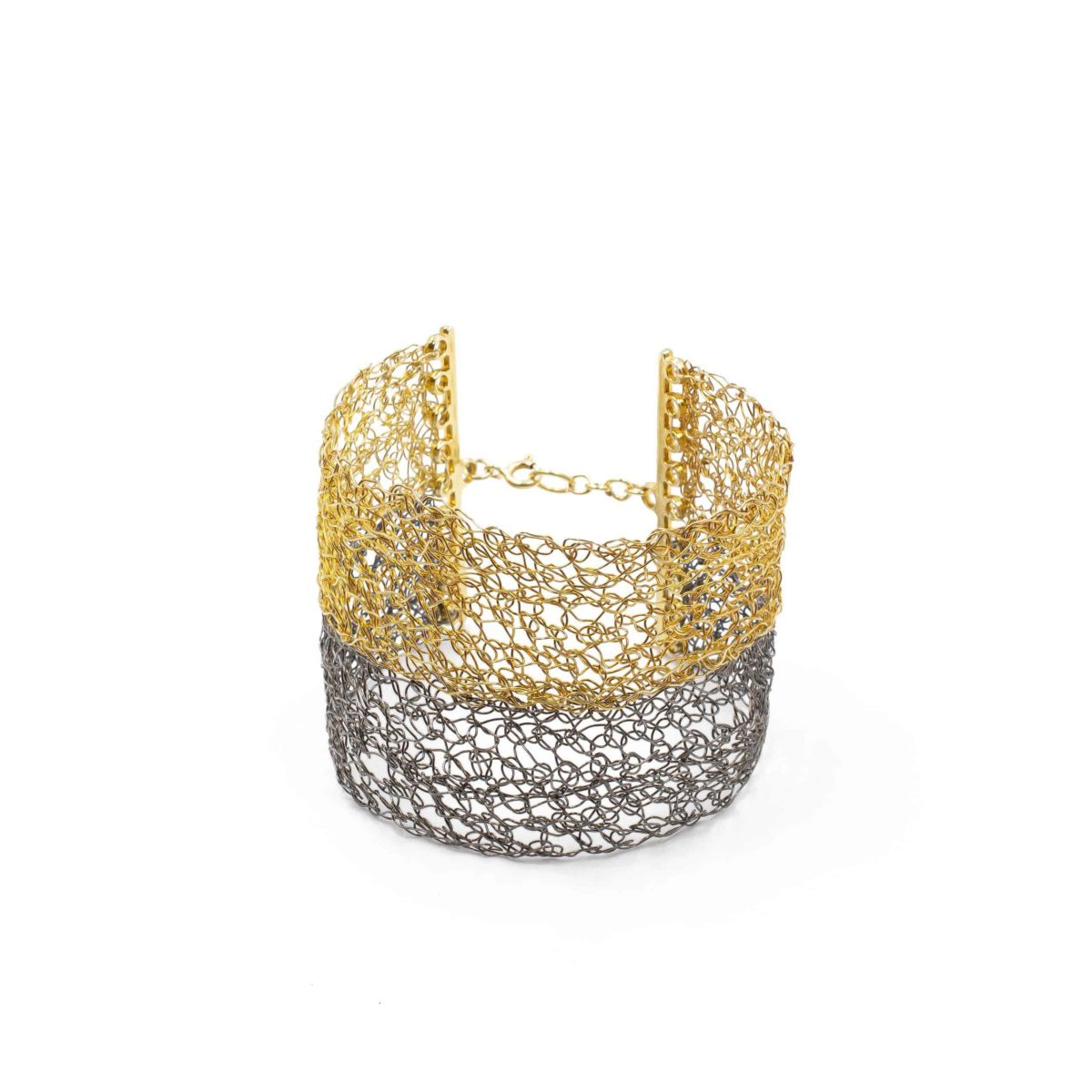 side view of gold and black rhodium cuff bracelet for women
