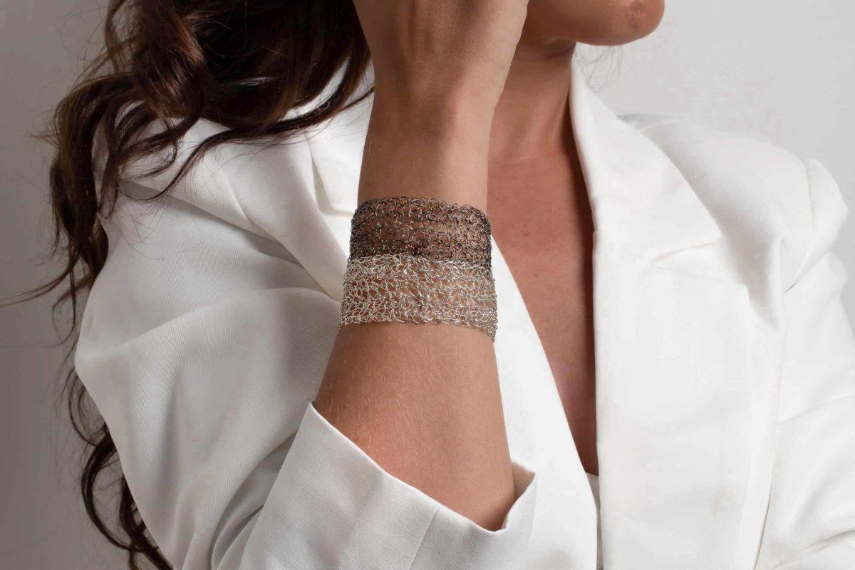 platinum and black rhodium cuff bracelet for women
