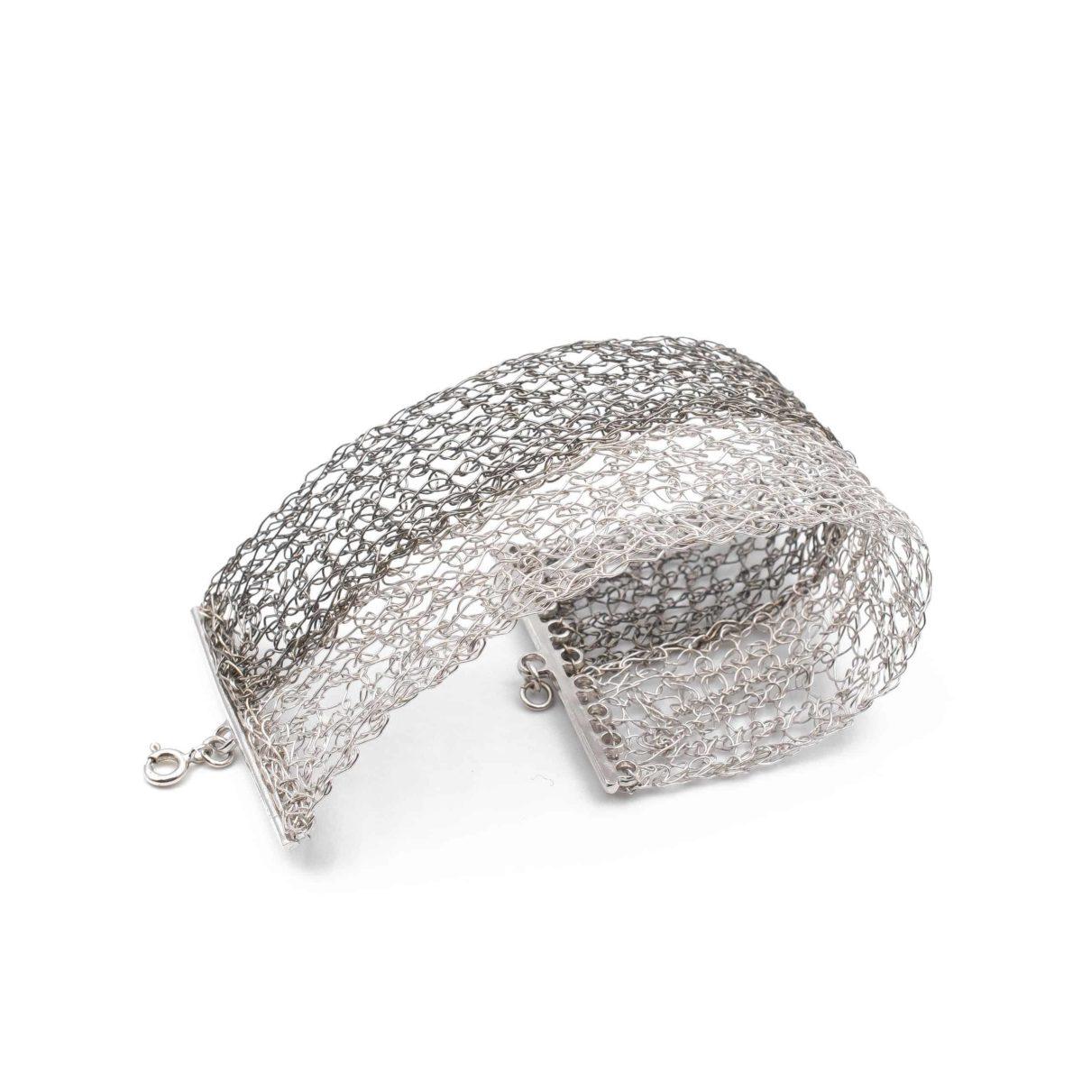 top view of platinum and black rhodium cuff bracelet for women