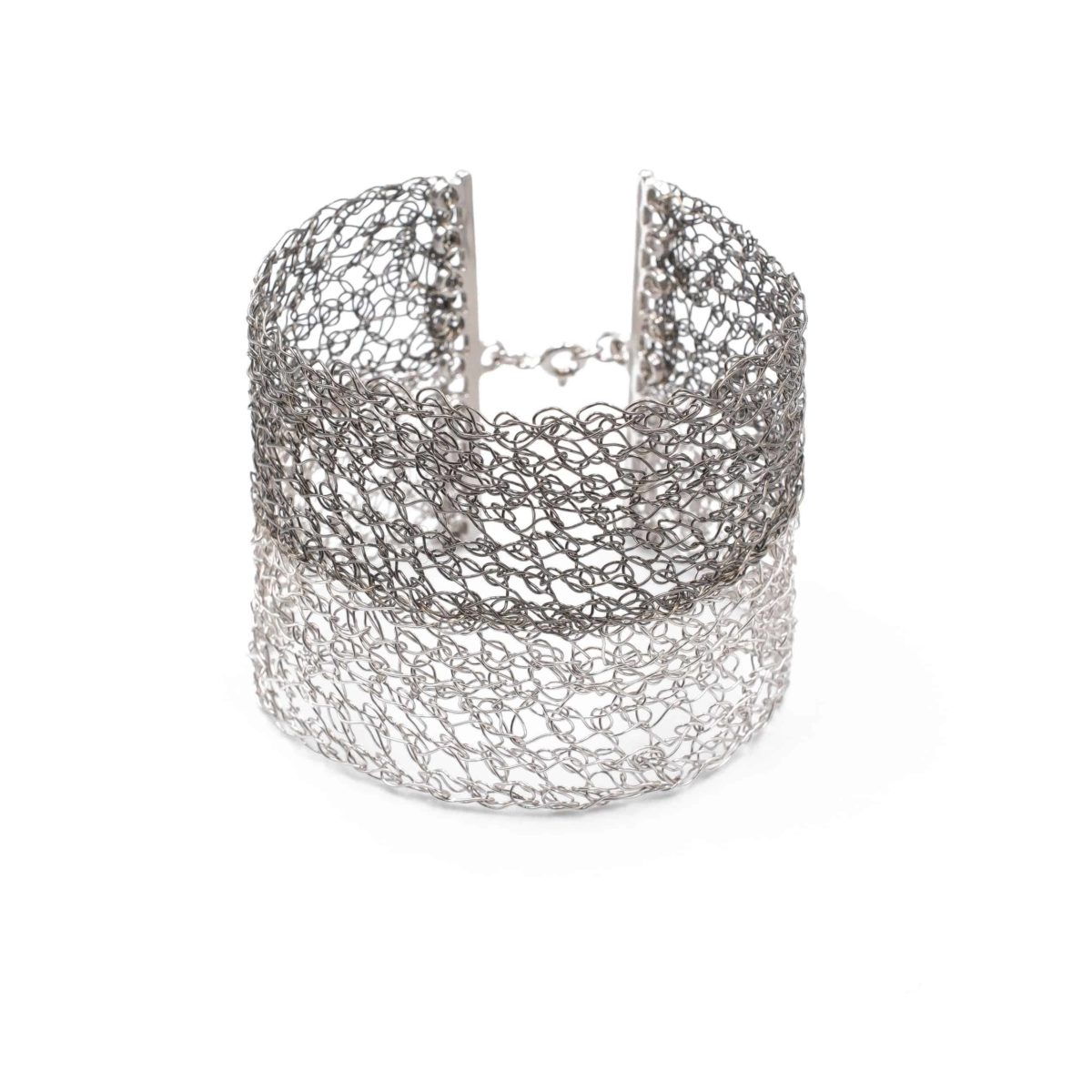 front view of platinum and black rhodium cuff bracelet for women