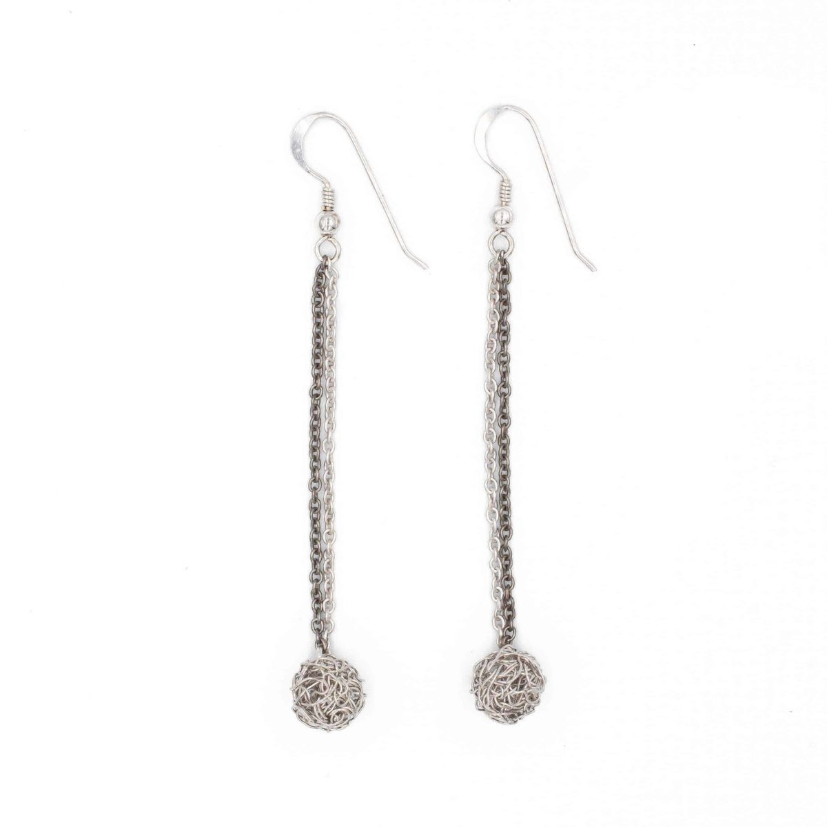 long silver earrings with a small handmade sphere