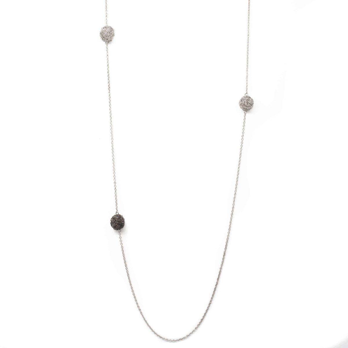 long pendant necklace in silver color