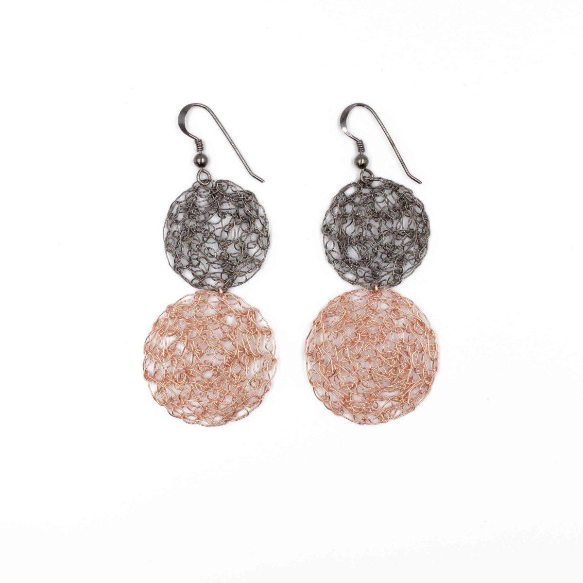 rose gold round earrings for women