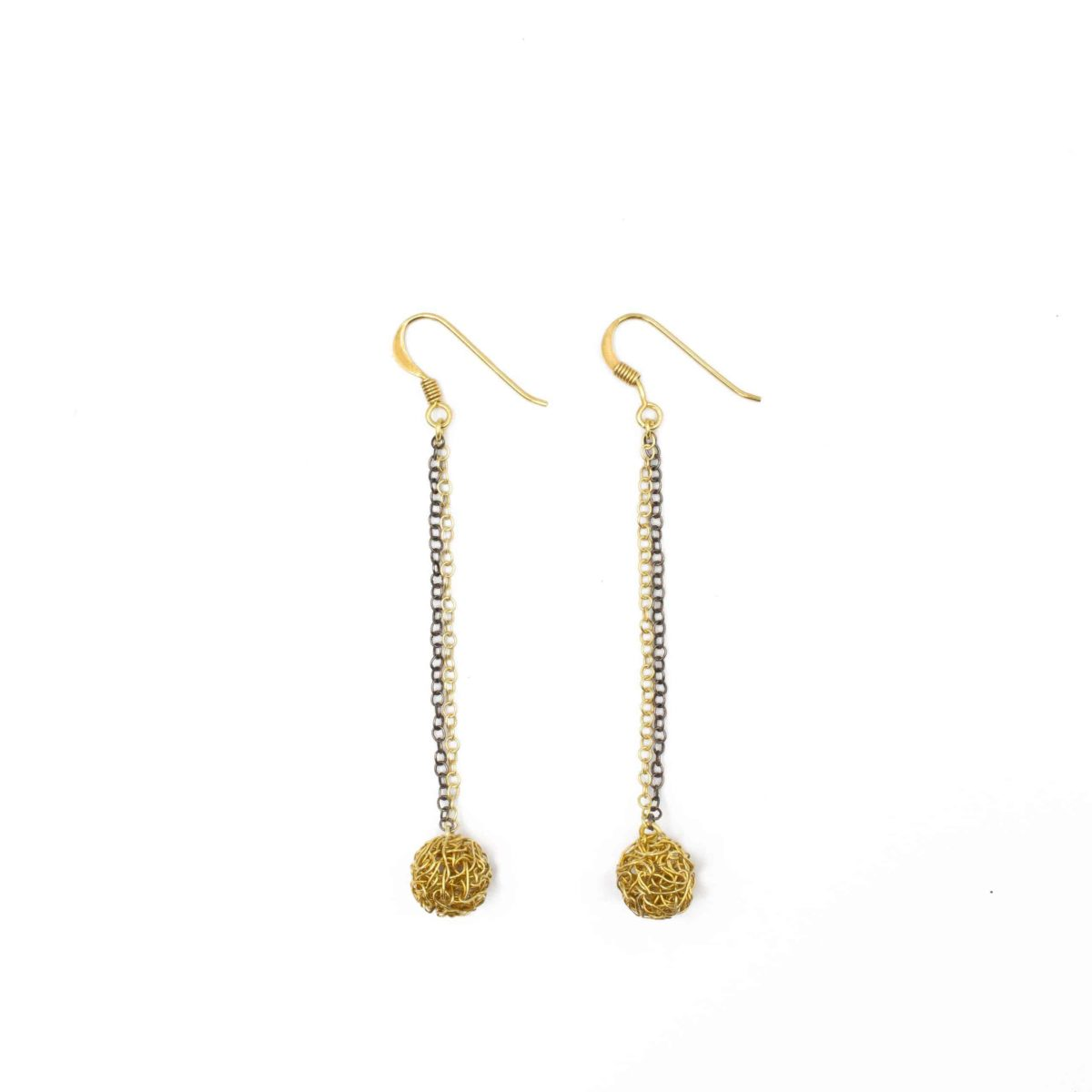 long gold earrings with a small handmade sphere