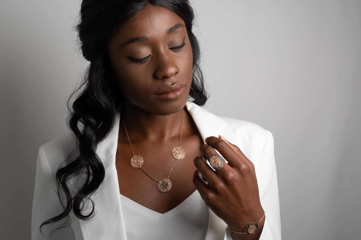 model wearing rose gold necklace