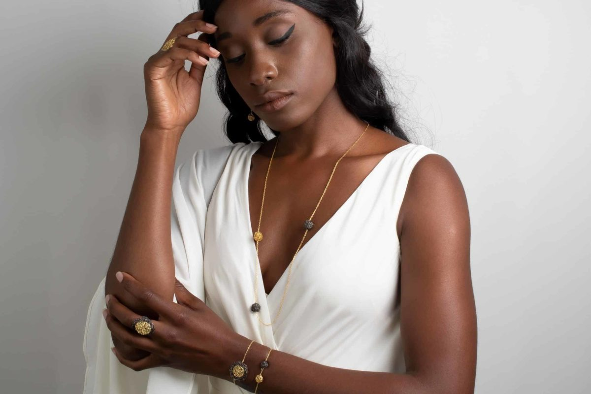 model wearing long pendant necklace in gold color