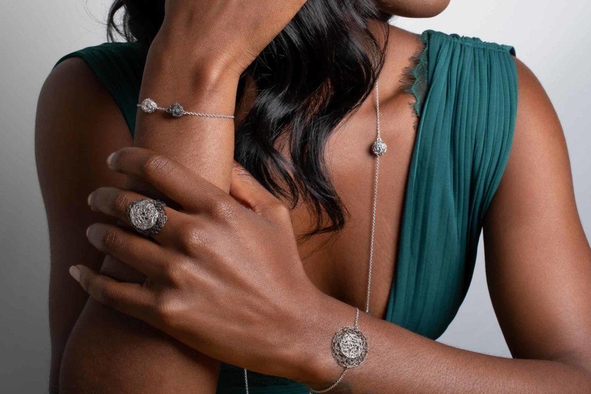 model wearing weightless silver jewelry