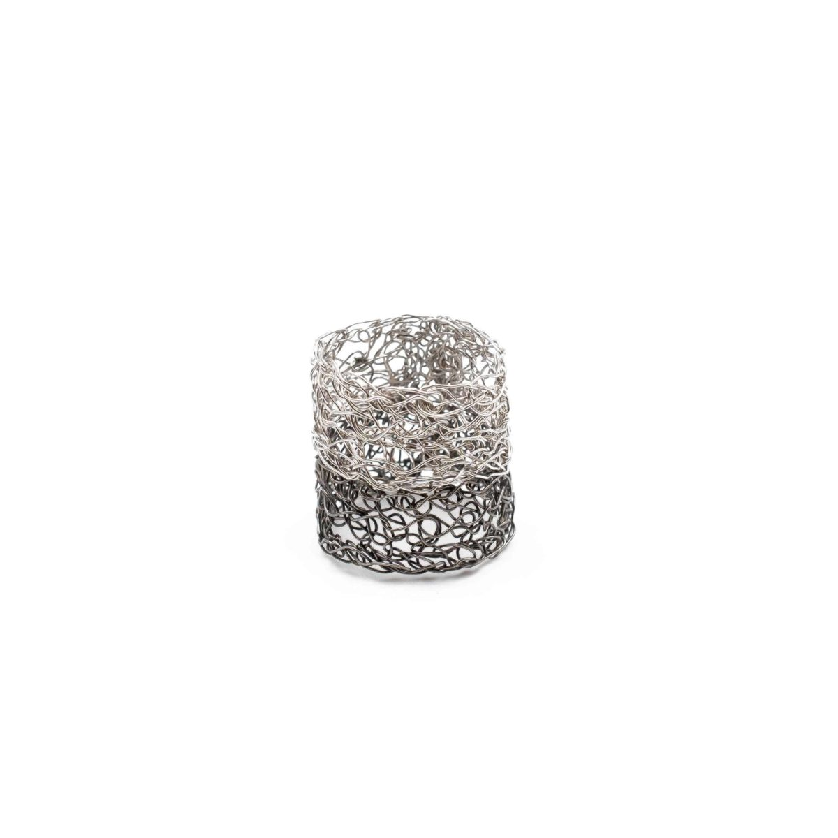 adjustable platinum and black band ring for women