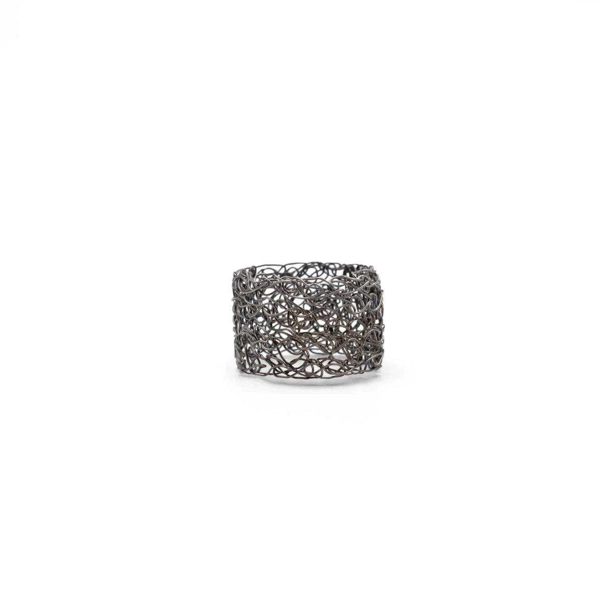 front view of adjustable black rhodium band ring
