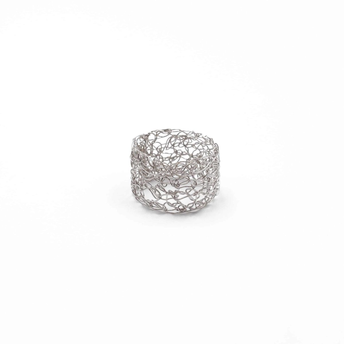 front view of adjustable silver band ring plated in platinum