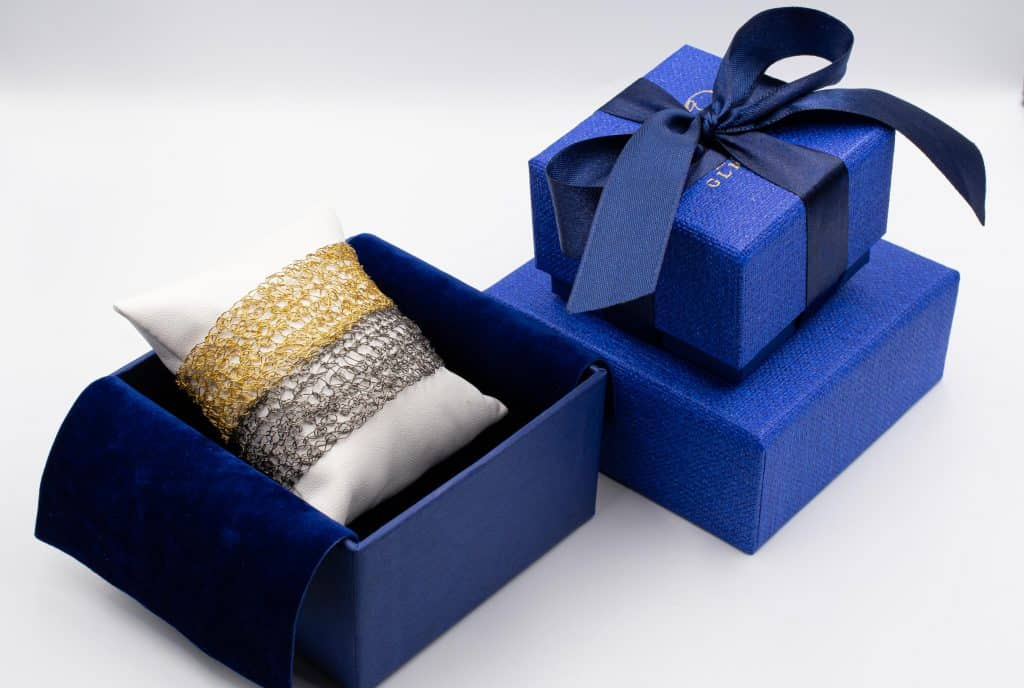 made in Italy blue box with gold cuff bracelet