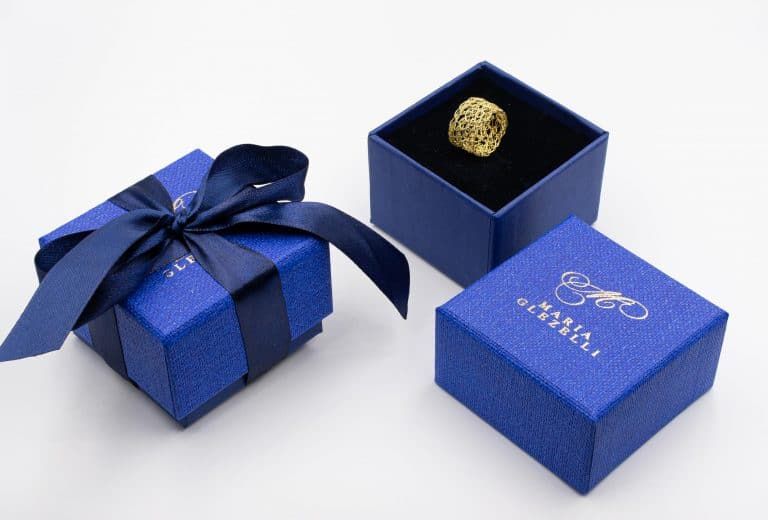 Made in Italy blue boxes used for packaging