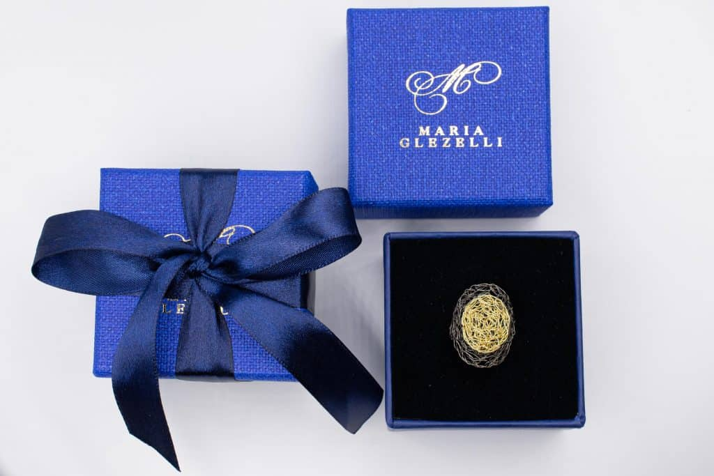 made in Italy blue box with handmade ring