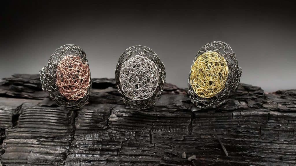 Handmade sterling silver rings plated in different colors